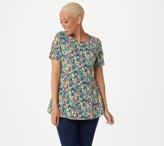 Denim & Co. Petite Printed Jersey Fit & Flare Top