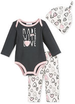 First Impressions Baby Girls' 3-Pc. Made With Love Hat, Bodysuit & Pants Set, Only at Macy's