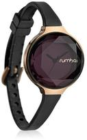 RumbaTime Orchard Mini Rosetone Black Crystal and Silicone Strap Watch
