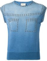 Laneus faded stud detail knitted tank top - women - Cotton/Aluminium - 46