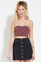 Forever 21 FOREVER 21+ Strapless Zigzag Crop Top