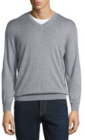 Neiman Marcus Cashmere-Silk V-Neck Sweater, Earl Gray
