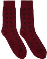 Alexander McQueen Red Short Skull Socks