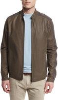 Loro Piana Two-Tone Leather/Windmate Zip Jacket, Laurel