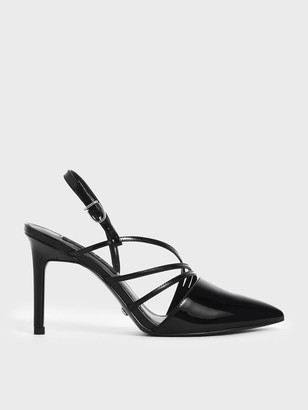 Charles & Keith Patent Leather Strappy Slingback Heels