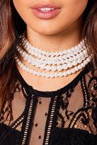 Boohoo Anna Pearl Choker With Long Pearl Necklace