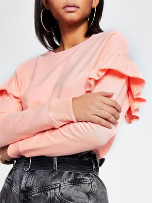 River Island Frill Sleeve Sweat- Coral