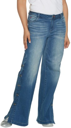 Peace Love World Regular Denim Button Side Pants