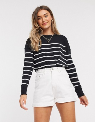 New Look crew neck jumper with stripes in black