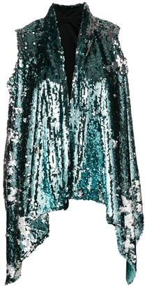 Halpern draped embellished waistcoat