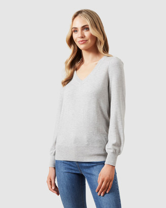 French Connection Puff Sleeve V Neck Jumper