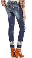 Miss Me Embroidered Ankle Cuff Whiskered Skinny Jeans