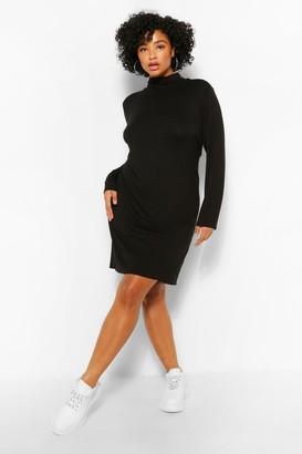 boohoo Plus Roll Neck Jersey Shift Dress