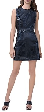 French Connection Sundae Croc Embossed Faux Leather Mini Dress