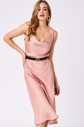 Paper Dolls Verity Pink Satin Midi Slip Dress