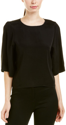 Halston Silk-Trim Top