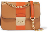 MICHAEL Michael Kors Sloan Editor Medium Two-tone Leather Shoulder Bag - Tan