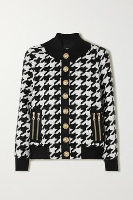 Balmain Button-embellished Houndstooth Wool-blend Bomber Jacket - Black