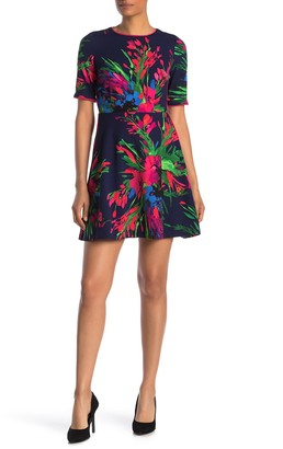 Vince Camuto Floral Elbow Sleeve Scuba Fit & Flare Dress