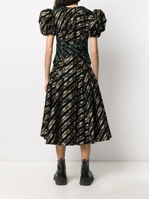 Chopova Lowena Patchwork Tartan Midi Dress