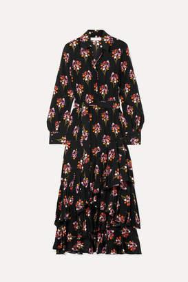 Borgo de Nor Aurora Ruffled Silk Crepe De Chine Maxi Dress - Black