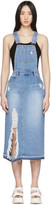 Sjyp Blue Denim Destroyed Slit Overall Dress