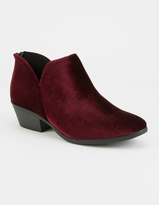 Soda Sunglasses Low Notch Velvet Womens Booties