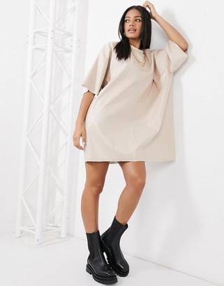 ASOS DESIGN oversized leather-look T-shirt dress in cream