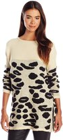 Ark & Co Women's Animal Patterened Hem Long Sleeve Sweater