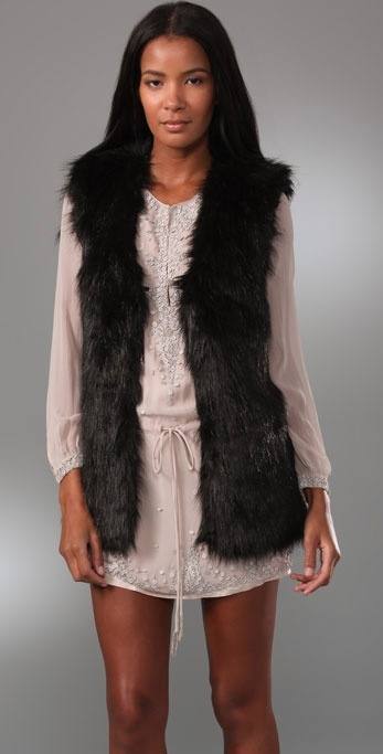 Halston Faux Fur Vest