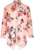 River Island Girls pink print shirt