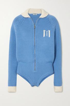 Miu Miu Intarsia Wool Bodysuit - Blue