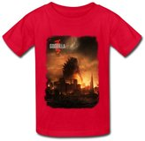 JeFF Kid's Boys' And Girls' Godzilla O-neck Cotton Shirt For 6-16 Years Medium Navy (US Size)