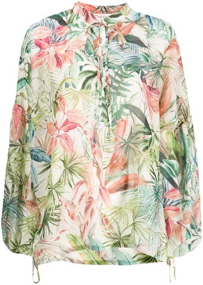 Black Coral oversized tie neck blouse