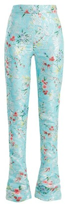 Halpern Floral-print High-rise Kick-flare Trousers - Blue Multi