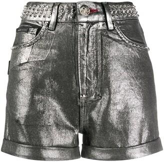 Philipp Plein Metallic-Print Studded Shorts