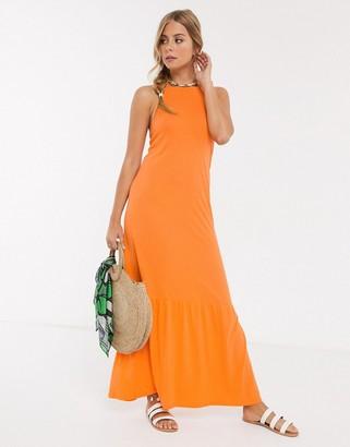 ASOS DESIGN square neck halter maxi dress with pep hem in nectarine