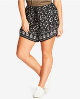 City Chic Trendy Plus Size Printed Soft Shorts