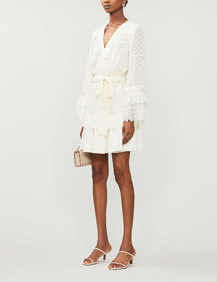 Alexis Katerina polka dot applique crepe mini dress