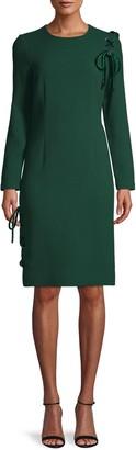 Teri Jon Velvet Lace-Up Sheath Dress