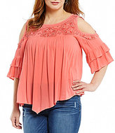 Democracy Plus Cold-Shoulder Flounce Sleeve Top