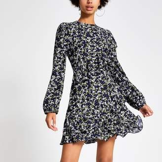 River Island Womens Blue floral print ruffle mini smock dress