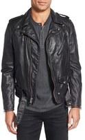 Schott NYC Men's Hand Vintaged Slim Fit Leather Motocycle Jacket