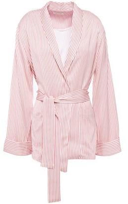 American Vintage Arivagigi Belted Striped Satin-crepe Jacket