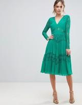 Asos Design Pleated Lace Insert Midi Dress
