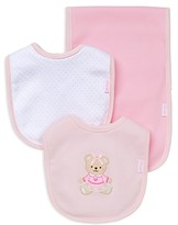 Little Me Infant Girls' Bear Bib & Burp Cloth Set