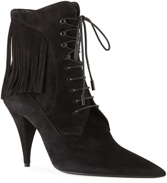 Saint Laurent Kiki Suede Fringe Lace-Up Victorian Booties