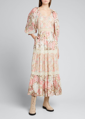 LoveShackFancy Evren Tiered Floral-Print Cotton Maxi Dress