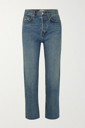 RE/DONE Originals Stove Pipe High-rise Straight-leg Jeans - Mid denim