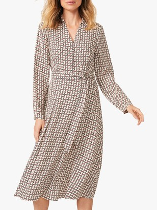 Phase Eight Nellie Geometric Print Midi Dress, Neutral